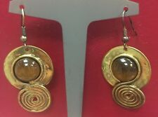 Copper and tiger eye large dangly earrings by Creative Dezigns