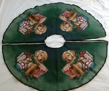 Vintage Christmas Tree Skirt Puppy Puppies Dogs Canine Furry Tapestry Drum Gifts