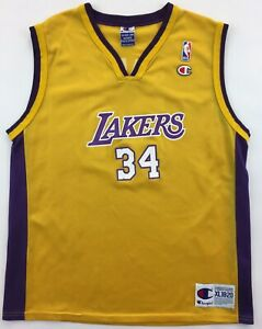 Los Angeles LA Lakers #34 Shaquille O'Neal jersey NBA vintage youth XL 18-20