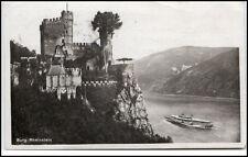 Burg Rheinstein alte AK 1935 Dt. Reich gelaufen Partie an der Burg Rhein Schiff