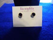 "Lia Sophia Gold with Purple Stone ""Birthday Party"" (Feb.) Pierced Earrings NWT"