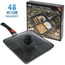 FRYING PAN CARP FISHING CAMPING WITH GLASS LID + HANDLE NGT 3 WAY MULTI SECTION