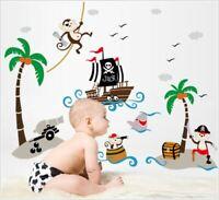 Wall Sticker Decal Pirate Ship Kids Nursery Baby Children's room dec Kid Boy