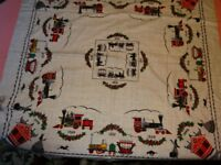 Simtex Huff N Puff 52 x 52 Tablecloth Kasha Cloth Hand Printed Trains