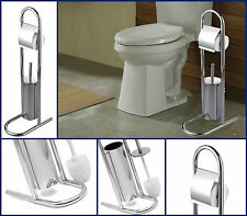 CHROME LID TOILET ROLL HOLDER BRUSH FREE STANDING BATHROOM STORAGE ORGANIZER NEW