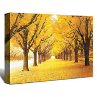 Canvas Wall Art Yellow Autumn Fall Leaves Pictures Framed Home Living Room Decor