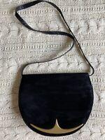 Charles Jourdan Paris Black Suede Leather Saddle Bag with Gold Hardware Shoulder