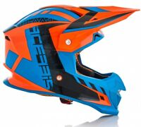 CASCO HELMET MOTO CROSS ENDURO ACERBIS PROFILE 4  ORANGE ARANCIO FLUO BLU TG L