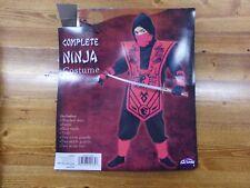 New Boys Size Small 4-6 Complete Ninja Halloween Costume Black & Red
