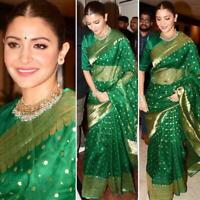 Bollywood Silk Blend Green Saree Jacquard Silk Sari Indian Ethnic Clothing Wear
