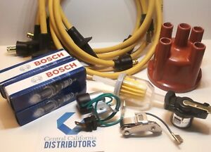 VW 009 TUNE UP KIT WITH YELLOW IGNITION WIRES BUG GHIA BUS BUGGY. BERU/BOSCH.