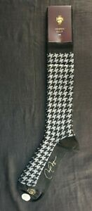VK Nagrani Men's Dress Socks Over The Calf Houndstooth L380 BLACK