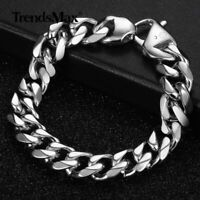 15mm Fashion Mens 316L Stainless Steel Curb Bracelet Silver Chain Jewelry 7-11""