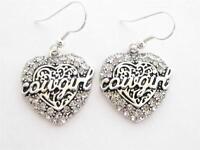 Cowgirl Heart Clear Crystal Earrings Jewelry Wire hook Equestrian Western Rodeo