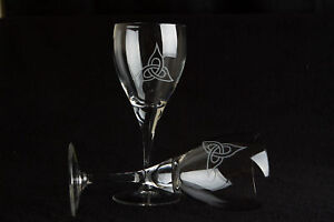 Large Red Wine glasses (11oz) - Celtic Trinity Design - set of  2 - Gift Boxed