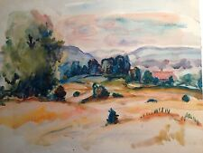 "original watercolor ""woodstock ny"" signed bernard gussow 1881-1957"