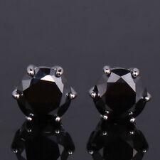 Lovely gift !  black sapphire  woman 18K White gold filled Dashing stud earring