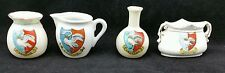 4 Swanage Crested Items, Puzzle Jug by Arcadian, Bag by Goss, Jug, Vase