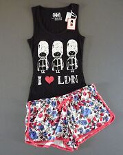 NEU DAMEN PYJAMA SET S M L I LOVE LONDON SCHLAFANZUG SHORTY TOP + SHORTS PRIMARK