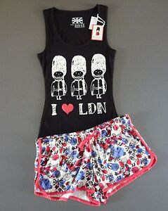 I Love London ❤️ Damen Pyjama Kurz Shorty Set M 40-42 Schlafanzug Top Shorts Neu