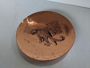 Decorative leopard design copper dish TC220918G