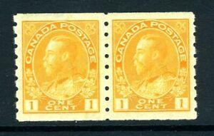 CANADA Scott 126 - DG - 1¢ Orange Yellow King George V Admiral Coil Pair (.137)