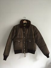 Monitaly Brown Military Flight Puffer Jacket Size 40 / Medium Made In USA NWT