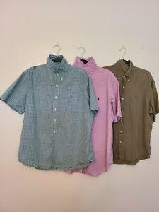 Lot Of 3 Ralph Lauren Polo Short Sleeve Button Front Shirts Mens XL