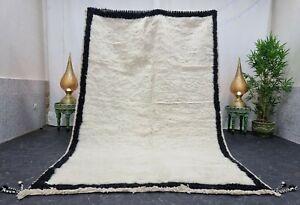 "Handmade Moroccan Beni Ourain Rug 5'8""x8'8"" Solid Berber White Black Wool Rug"