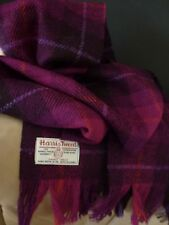 Harris Tweed Wool Scarf Purple Aubergine Pink Check Orange Magenta Lilac Classic