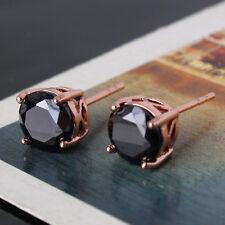 UNIQUE  CHIC 18k rose gold filled black topaz women wedding stud earring
