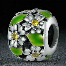 DIY Flower European CZ Crystal Charm Silver Spacer Beads Fit Necklace Bracelet