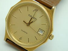 VINTAGE 1980S TISSOT GOLD TONE MANS WRIST WATCH  GREAT BATTERY ADDED 4-20-17