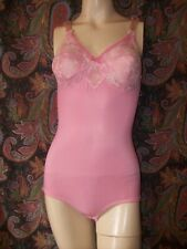 Vintage Pink Firm Support All-In-One Slimmer Girdle Lacy Bullet Bra Lingerie 36C