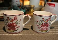 Pair French Faience Pottery Coffee Tea Cups Mugs Strasbourg Rooster Vintage