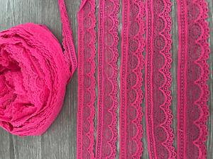 STRETCH LACE HOT PINK TRIM 2.5 CM/1 INCH WIDE SEWING CRAFTS DRESS MAKING 2-5 MTR