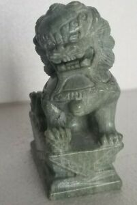 Chinese Asian Soapstone Foo Dog Green Jade Carved Guardian Statue