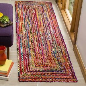 Rug 100% Natural Jute Cotton Braided style Runner Rug Living Area Carpet Rag Rug