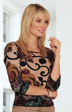 Women's Clothing Swirl Border Tee Top by Su & Lola Sz L