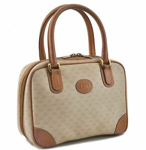 Authentic GUCCI Micro GG PVC Leather Hand Boston Bag Ivory Brown E1643