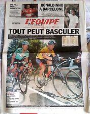 L'Equipe Journal 20/7/2003; Ronaldinho à Barcelone/ Spécial Tour de France/ Barr