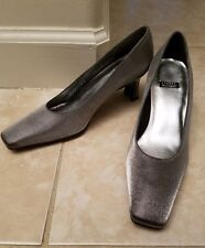 Stuart Weitzman Pewter Cloth Pump 7 B Shoes Square Heel Women's 6W71986 NEW $167