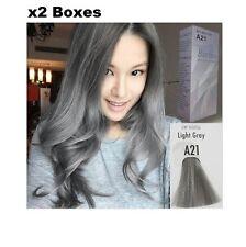 2 BOXES BERINA A21 LIGHT GRAY SILVER PERMANENT HAIR DYE COLOUR CREAM SMOOTH