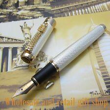 JINHAO Noblest Sliver Carver Dragon M NIB Ink Pen Metal Gift Fountain Pen