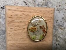 Fruit Basket Painted Pin/Brooch Vintage Jewelry France Scene Lady