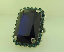 Sorrelli Electric Blue Ring RBT69ASEB antique silver tone