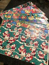 Vintage Old Retro Piece Unused Christmas Wrapping Paper X8 Sheets