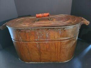 Antique Primitive Revere Copper Boiler/Wash Tub Pot with Wooden Handles & Lid