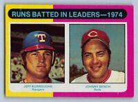 "1975  JEFF BURROUGHS & JOHNNY BENCH - Topps  ""RBI Leaders"" Baseball Card # 308"
