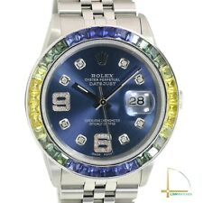 Rolex Datejust Watch Unisex Blue Diamond Dial Rainbow Bezel Jubilee Band 36mm